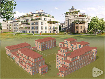 5 edificios de viviendas + 1 pabellón central (habitación de húespedes + gimnasio), Serris (Francia)