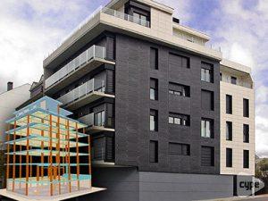 Edificio con sótano, planta baja, 4 plantas y bajocubierta para 9 viviendas en As Pontes (A Coruña) construido por ARECO Construcciones S.C.
