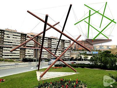 Escultura con la geometría de las aristas de un icosaedro, hecha de acero y hormigón en Alicante