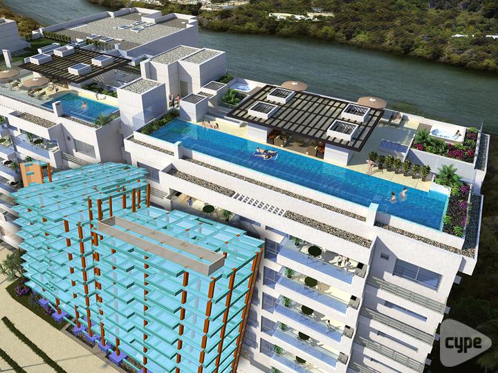 Urbanización con 3 pisos de parqueaderos, 9 pisos de apartamentos y Terraza Zona Social con piscinas en 13,000 m2. Cartagena, Colombia.