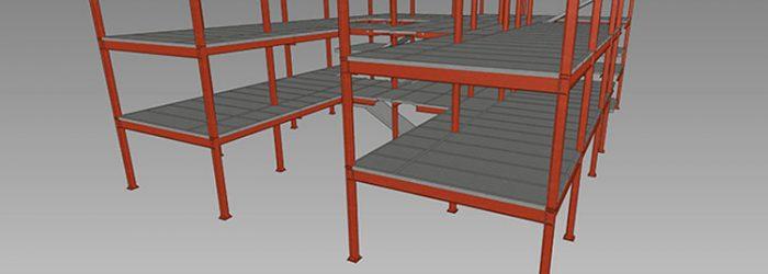 Vista 3D estructura metalica ejemplo